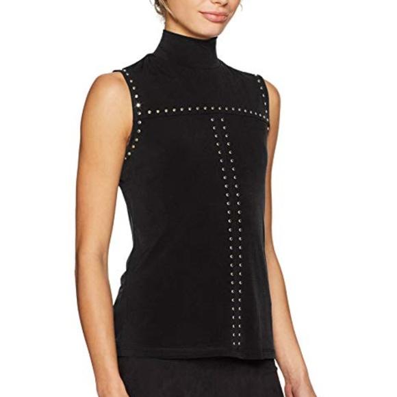 b28d367e20426f Calvin Klein Studded Turtleneck Top Black